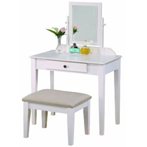 crown mark iris vanity table and stool white