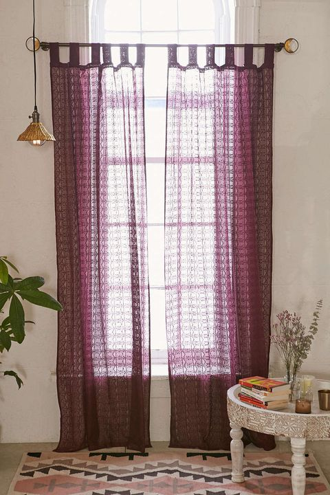 urban outfitters plum bow lace curtain