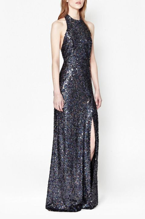 french connection lunar sparkle sequin maxi dress in charcoal