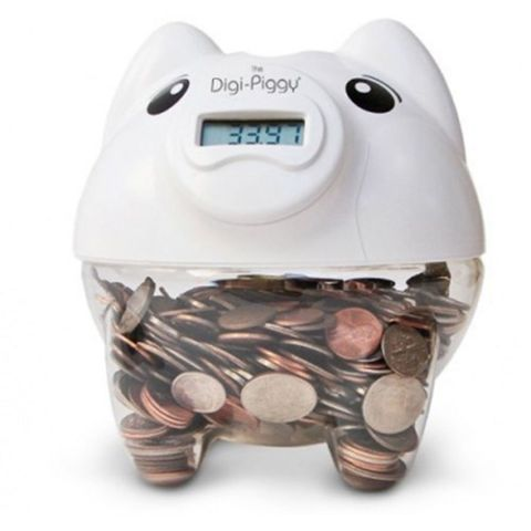 digi-piggy digital coin counting bank white