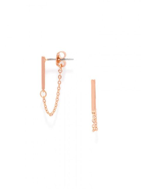 bauble bar chain bar stud earrings in rose gold