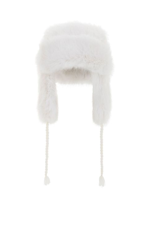 bcbb faux fur trapper hat in white