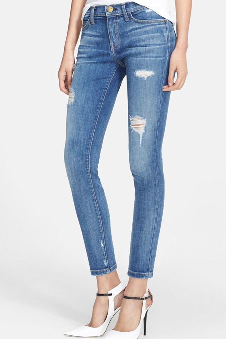 current elliott stiletto skinny jeans in niagara destroy