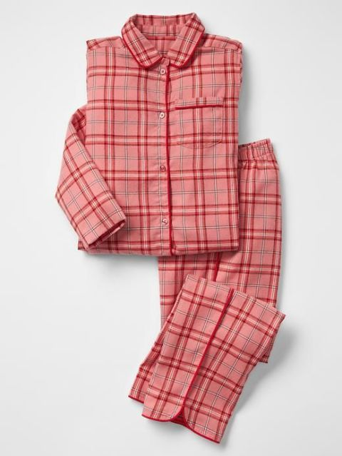 gap printed classic pj set pink heart