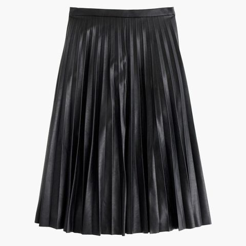j crew pleated midi faux leather skirt in black