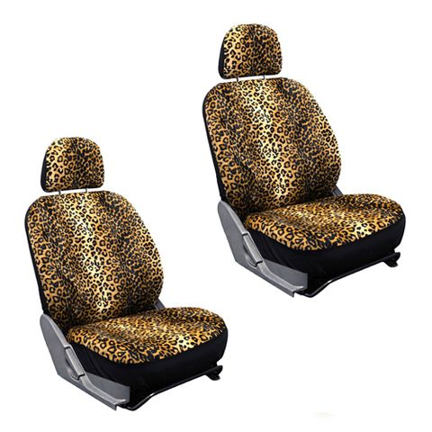Logoride Leopard Print Front Seat Covers With Matching Steering Wheel Cover