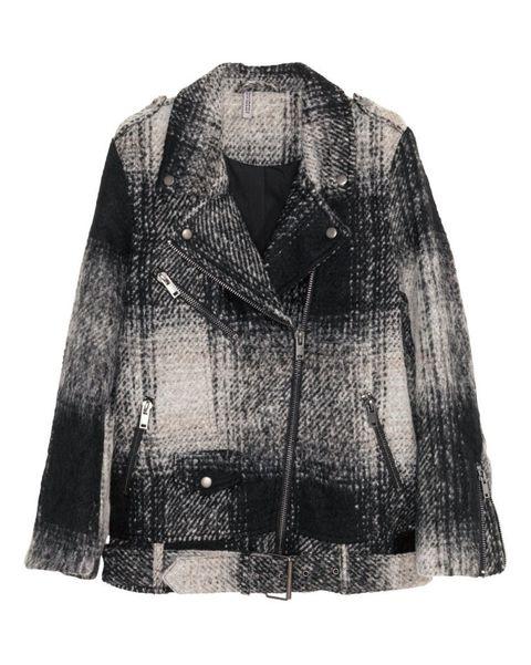 h&m wool blend jacket in black check