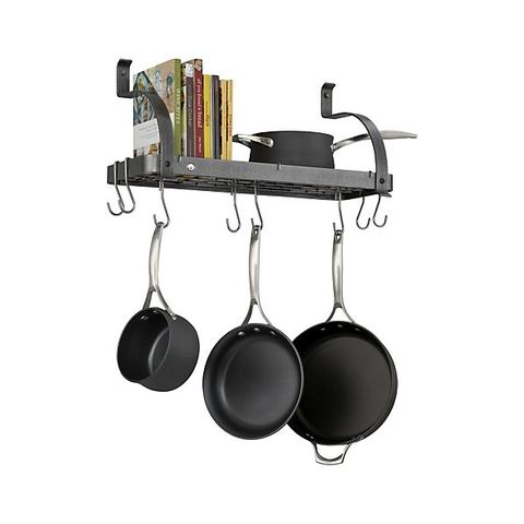crate barrel enclume bookshelf pot rack