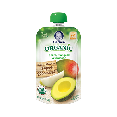 gerber organics 3rd food pouches pear mangoes and avocado