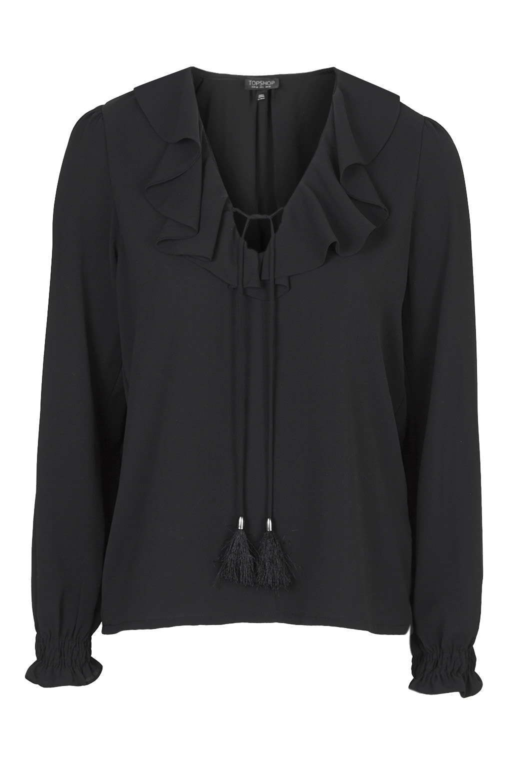 topshop ruffle front blouse in black