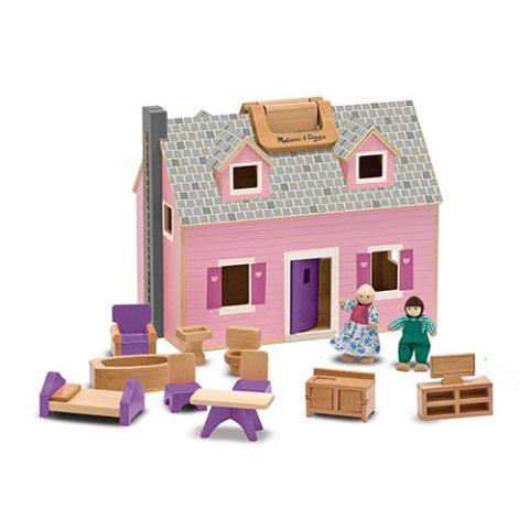 melissa & doug fold & go wooden dollhouse