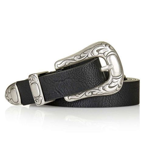topshop western belt in black leather