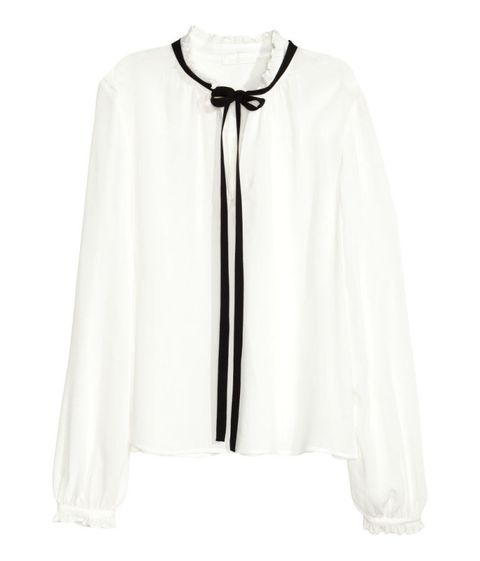 h&m ruffle blouse with tie in white