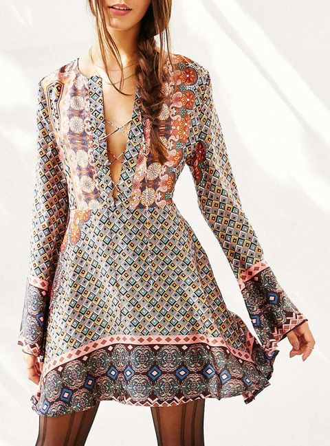 glamorous border print bell sleeve dress