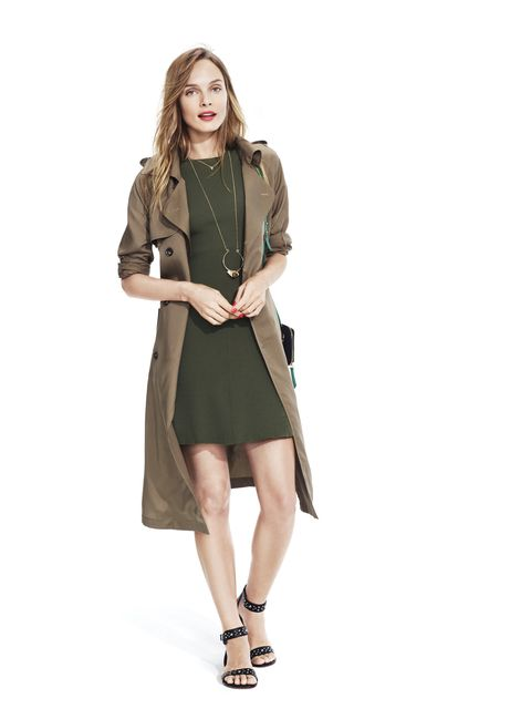ribbed sweater dress in olive and trench coat