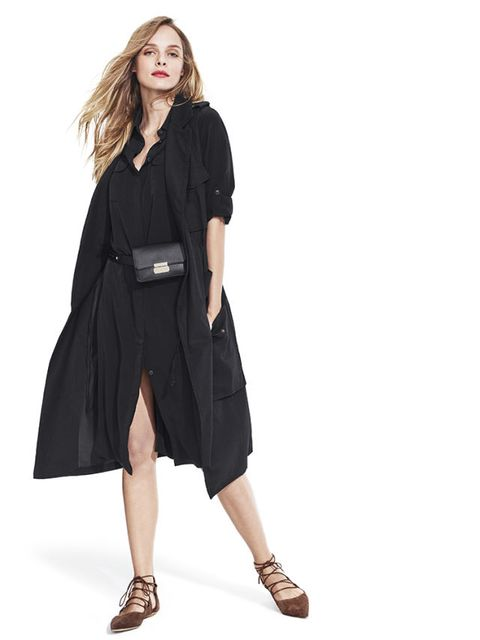 trench vest and midi shirtdress in black