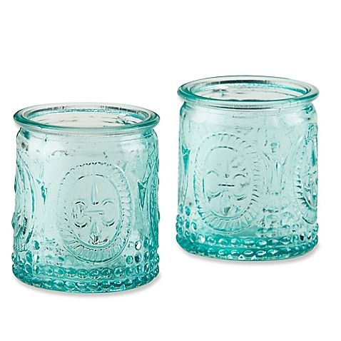 bedbathbeyond kate aspen vintage blue tealight holder