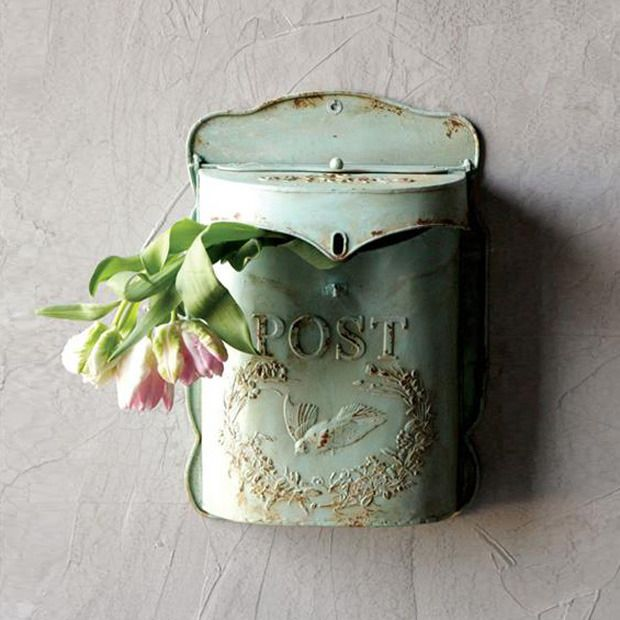 Creative Co-op Aqua Embossed Tin Letter Box