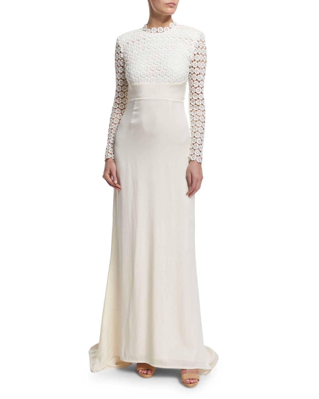 Self-Portrait Eva Long-Sleeve Open-Back Combo Gown