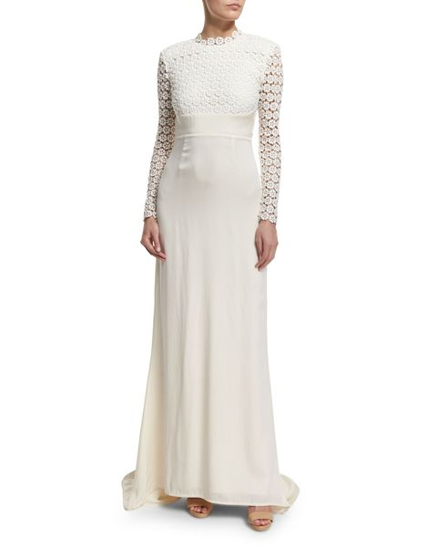 Self-Portrait Eva Long-Sleeve Open-Back Combo Gown