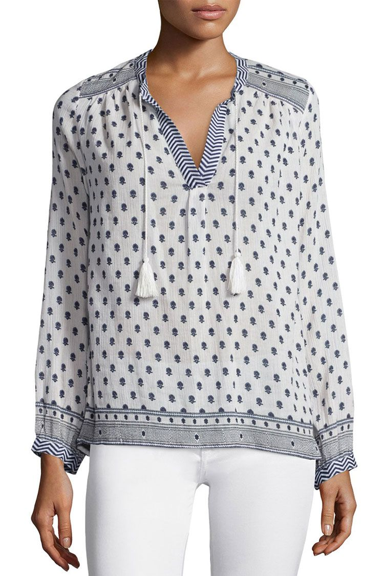 soft joie saffron printed cotton top in blue and white