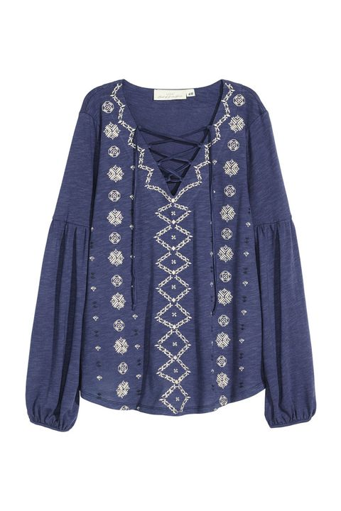 h&m embroidered jersey lace up top blue