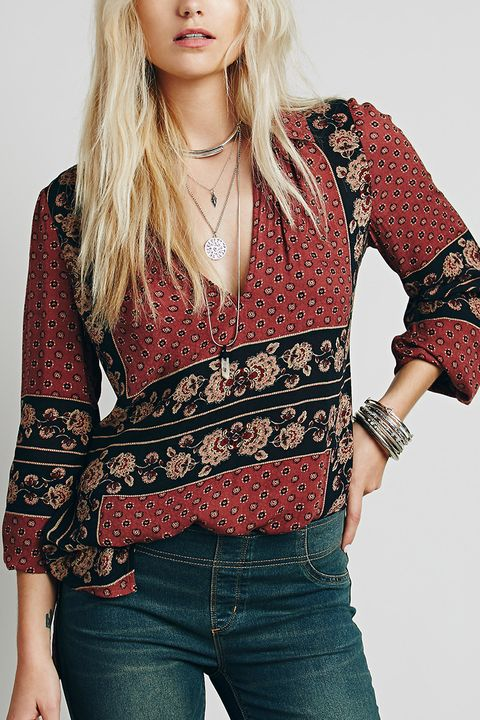 free people border print collar tunic in red brick combo