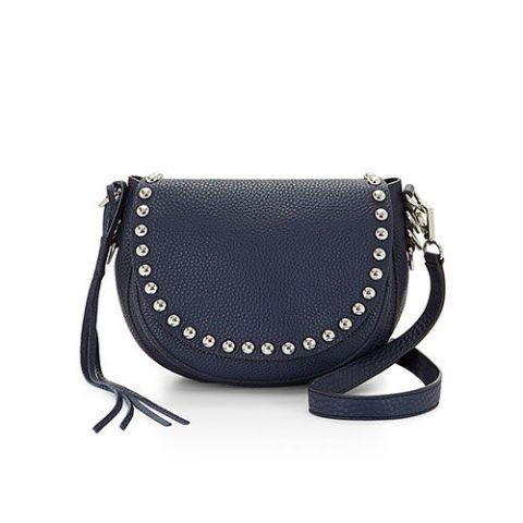 rebecca minkoff unlined saddle moon bag in navy