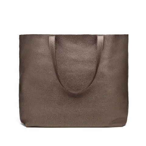 cuyana classic tote bag in bronze metallic leather