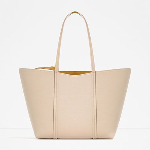 zara reversible tote bag in beige and yellow