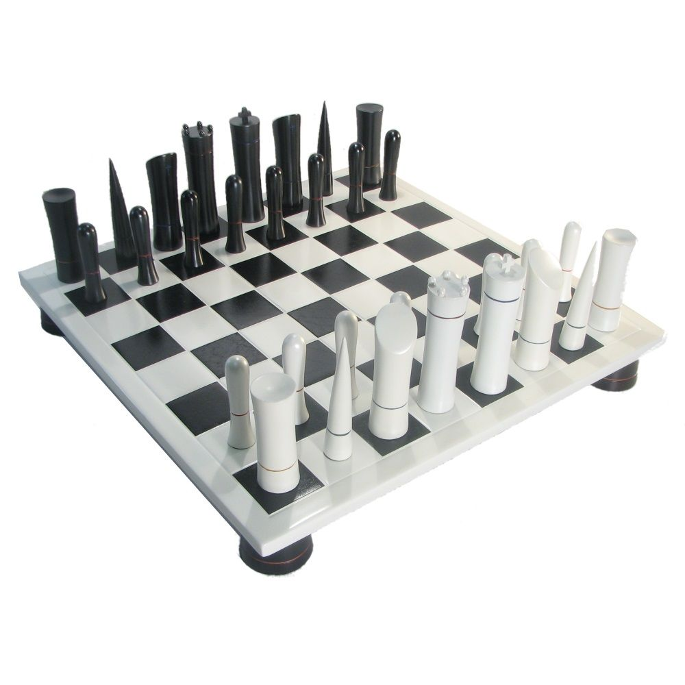 ChessUSA Black White Modern Chess Set