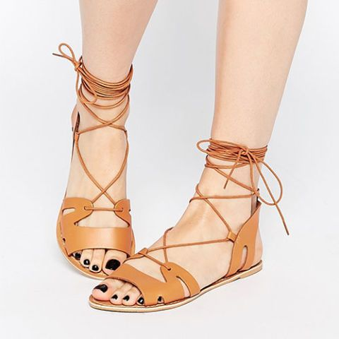 asos fuerta lace up leather sandals in tan