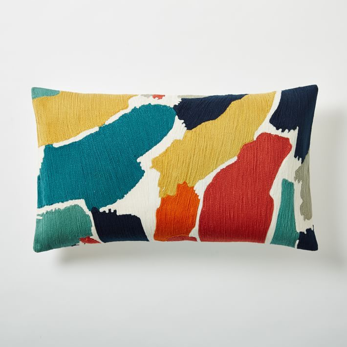 westelm abstract modern crewel lumbar pillow cover