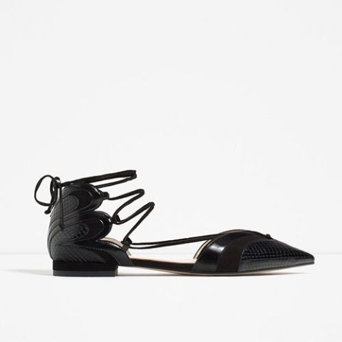 zara pointed lace up ballerinas in black