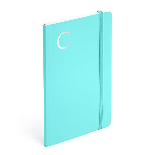 poppin aqua medium soft cover notebook with silver initial