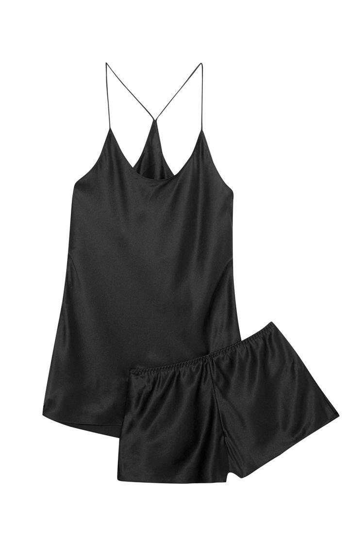 olivia von halle bella silk satin short pajamas in black