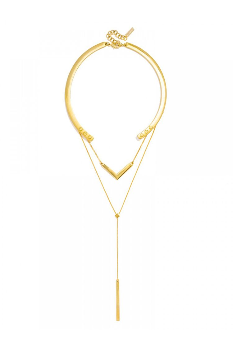 baublebar olympus layered collar necklace gold