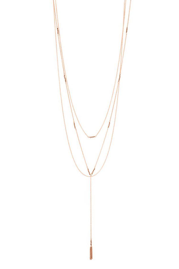 gorjana joplin multistrand lariat necklace rose gold