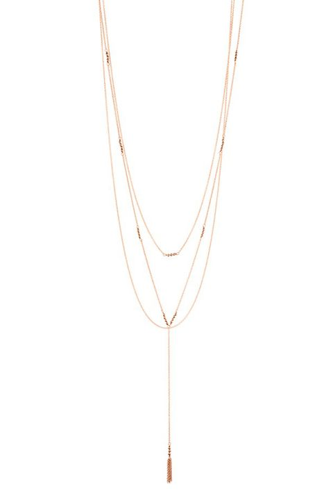 gorjana joplin multistrand lariat necklace rose gold