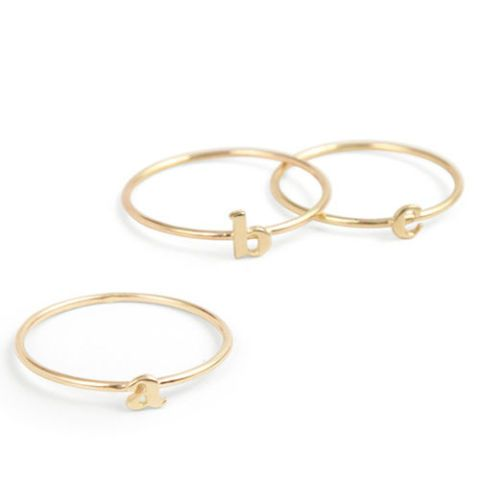 catbird stackable alphabet rings in yellow gold
