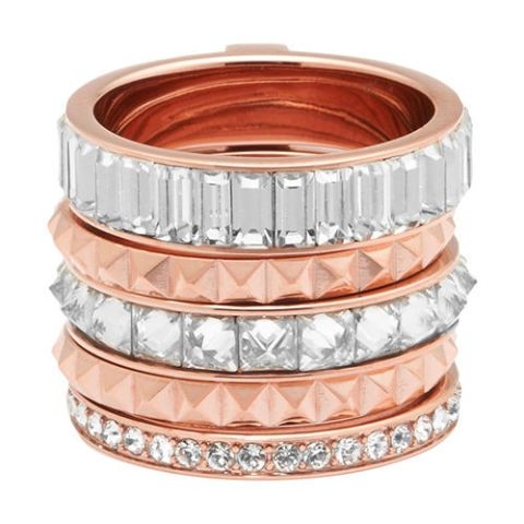 henri bendel chrysler puzzle ring in rose gold and crystal