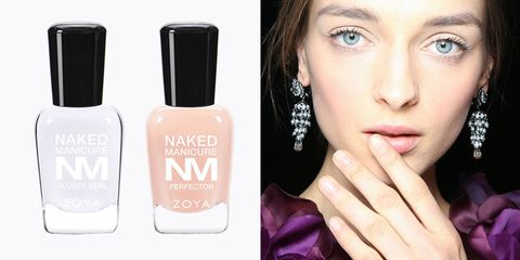 "<p><strong><em>ZOYA Naked Manicure Naked Base, $12, </em><a href=""http://www.zoya.com/content/item/Zoya/Zoya-Naked-Manicure-Naked-Base.html"" target=""_blank"">zoya.com</a>; </strong><strong><em>ZOYA Naked Manicure Pink Perfector, $10, </em><em><a href=""http://www.zoya.com/content/item/Zoya/Zoya-Naked-Manicure-Pink-Perfector.html"" target=""_blank"">zoya.com</a>; </em></strong><strong><em>ZOYA Naked Manicure Glossy Seal, $12, </em><a href=""http://www.zoya.com/content/item/Zoya/Zoya-Naked-Manicure-Glossy-Seal.html"" target=""_blank""><em>zoya.com</em></a></strong></p><p>Adding a pinch of glam to the nude mani trend, ZOYA nail artists know that sometimes tips have to take the backseat in order for an outfit to shine — but this sophisticated, modern nail is sure to share the spotlight. In order to nail this clean copy, layer on two coats of ZOYA's Naked Manicure Pink Perfector before completing the look with the Naked Manicure Glossy Seal. The clean polish adds just enough high shine without sacrificing the natural look.</p>"
