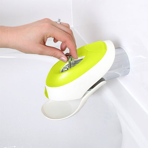 boon flo water deflector and protective faucet cover with bubble bath dispenser kiwi green