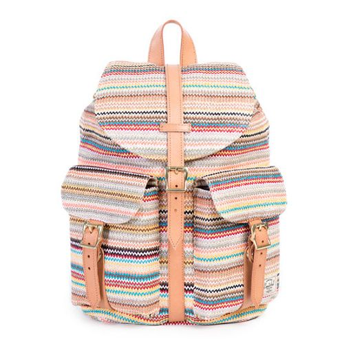 "<p><strong><em>$100, </em></strong><strong><em><a href=""http://shop.herschelsupply.com/products/dawson-backpack-womens-daybreak"" target=""_blank"">herschelsupply.com</a></em></strong></p><p>The popular Dawson backpack gets an update with woven material. This backpack was designed in the spirit of carefree exploration, and brings a fresh wave of color to daytime adventures. Custom cotton lining and a zip pocket detail the inside. </p>"