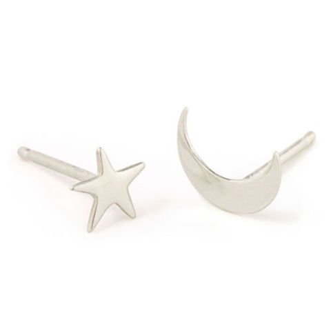 catbird nyc tiny dancer stud earrings moon and stars silver