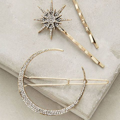 anthropologie stellar hair set with crystal moon and star bobby pin