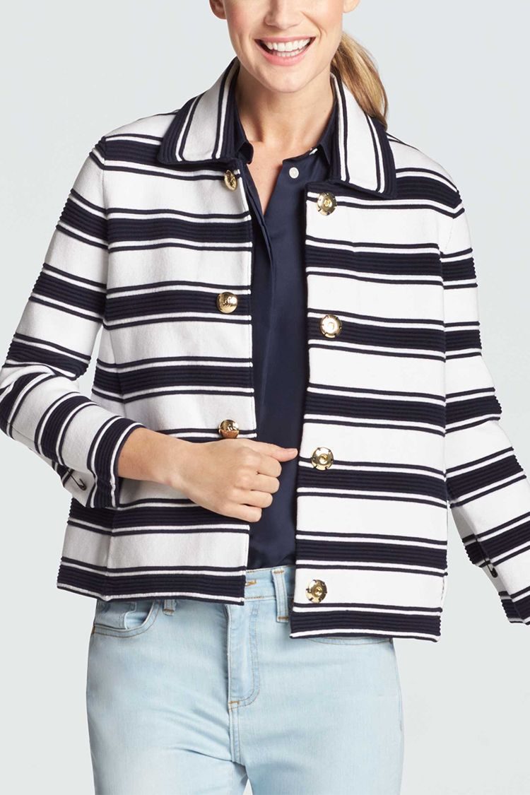 draper james ottoman striped knit blazer in navy and white