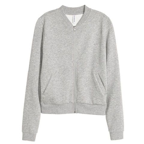 h&m sweatshirt jacket in gray