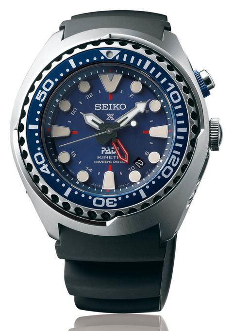 "<p><strong><em>$725, <a href=""http://www.seiko-prospex.com/sea/sun065p1"" target=""_blank"">seiko-prospex.com</a></em></strong></p><p>Seiko's divers are always an enthusiast's favorite, and what better way to follow up the hugely popular <a href=""http://seikousa.com/collections/prospex/SRP777"" target=""_blank"">Prospex SRP777 ""Turtle"" reissue</a> than with a pair of killer limited-edition divers launched in partnership with PADI — the Professional Association of Diving Instructors? This bold blue GMT diver is a chunky 47.5 millimeters, yet somehow it will still fit well on smaller wrists, as long as you can handle its heft. If you prefer a black dial, you can get your hand on the <a href=""http://www1.macys.com/shop/product/seiko-mens-automatic-prospex-kinetic-gmt-diver-stainless-steel-bracelet-watch-48mm-sun019?ID=2375947&CategoryID=23930#fn=sp%3D1%26spc%3D10%26ruleId%3D25%26slotId%3D1%26kws%3Dseiko%20prospex"" target=""_blank"">non-PADI version here</a> and skip waiting until this one hits stores later in the year.</p>"