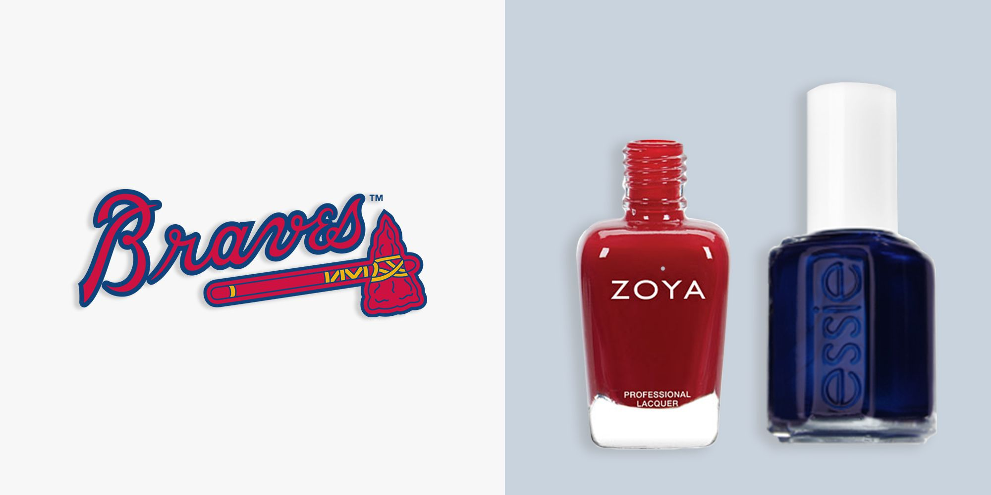 """<p><em><strong>ZOYA Nail Polish in Janel, $10, </strong></em><em><strong><a href=""""http://www.zoya.com/content/item/Zoya/Zoya-Nail-Polish-in-Janel.html """" target=""""_blank"""">zoya.com</a>&#x3B; <em><strong>Essie Nail Polish in Midnight Cami, $9, <a href=""""http://www.essie.com/Colors/blues/midnight-cami.aspx"""" target=""""_blank"""">essie.com</a></strong></em></strong></em><a href=""""http://www.zoya.com/content/item/Zoya/Zoya-Nail-Polish-in-Janel.html """" target=""""_blank""""></a></p><p>With two bold shades to play with, there's almost no excuse to come to a Braves game barehanded. Navy and red polka dots would look awesome sprinkled over nude nails, but we're also in favor of block tips over white beds.</p><p><strong>More:</strong> <a href=""""http://www.bestproducts.com/beauty/g431/football-nail-color-pairs/?"""" target=""""_blank"""">The Best NFL-Inspired Looks to Prep for Next Season</a></p>"""